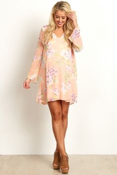 Pink Floral Printed V-Neck Chiffon Maternity Dress