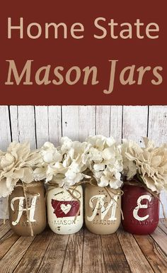 Rustic Home State Mason Jars. Set of Four. Shabby Chic. (Affiliate link)