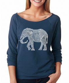 Loving this SignatureTshirts Indigo Elephant Raglan Tee on #zulily! #zulilyfinds