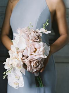 The Best Flower Color Scheme for a Luxe Look on a Budget - something borrowed blooms wtoo collection laura gordon photography White Orchid Bouquet, Orchid Bouquet Wedding, Wedding Bridesmaid Bouquets, Neutral Wedding Flowers, Purple Bouquets, Wedding Flower Arrangements, Bride Bouquets, Floral Wedding, Wedding Dresses