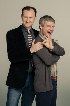 SHERLOCK (BBC) ~ Season 3 promo photo shoot. Mycroft Holmes (Mark Gatiss) and John Watson (Martin Freeman).