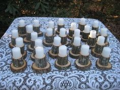 Rustic Wedding Decor Candleholders Logs. $295.00, via Etsy.