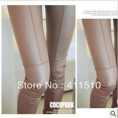 Free Shipping Fashion Leather Patchwork Legging Super Repair Ankle Length Trousers Faux Leather Pants Leather Legging-in Leggings from Appar...