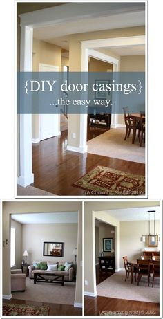 DIY - Door Casings - Full Step-by-Step Tutorial- add wainscoting too. Lovely way to fix up cookie cutter shoe box house