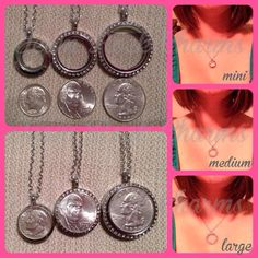 Sizes of the South Hill Designs lockets.