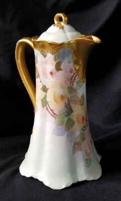 "Antique Haviland France Chocolate Pot Gold Pink & Yellow Flowers 9.75"" NICE #HavilandFrance"