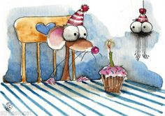 ACEO Original Watercolor Folk Art Whimsical Mouse Spider Cupcake Candle Party | eBay