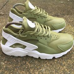 Army Khaki Green Nike Air Huarache Army Huarache Khaki Huarache Nike... ($191) ❤ liked on Polyvore featuring shoes, grey, sneakers & athletic shoes, tie sneakers, unisex adult shoes, water proof shoes, leather footwear, khaki shoes, grey shoes and gray shoes