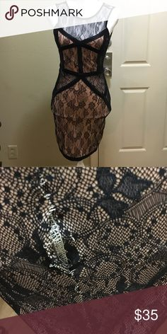Lace fitted dress. NWT. However this dress has a minor defect that can be fixed/sown. I didn't notice it till now that I took it out from closet. This dress has been in my closet since I bought. See photo for defect. This dress is size small but fits extra small as well. It's a bit tight but idk if it's since I gain weight it's tighter. Also it has a hidden zipper on back. Need any other photos plz let me know. No trades. Dresses Mini