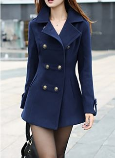 Long Sleeve Collar Trench Coats Mistura De Lã 1f439c89d4a