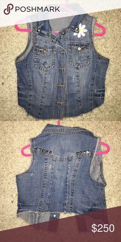 Crazy fun vintage handmade denim vest Mint condition Jackets & Coats Vests