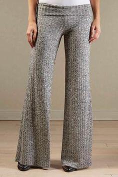ribbed foldover flare pants