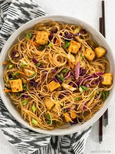 These Singapore Noodles with Crispy Tofu have a bold flavor and vibrant colors thanks to shredded vegetables and a bright curry sauce. Tofu Recipes, Asian Recipes, Vegetarian Recipes, Dinner Recipes, Cooking Recipes, Healthy Recipes, Ethnic Recipes, Dinner Ideas, Vegan Meals