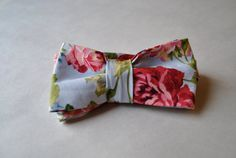 Handmade Powder Blue Floral Mens Adjustable Bow Tie