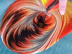 Fluid Painting - The Meteor- dirtycup ring pouring on Wood