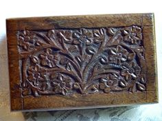 Hand Carved Wood Floral Design Trinket Keepsake Box from India