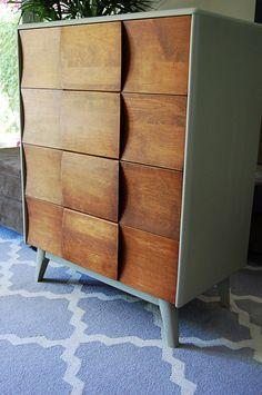 Mid Century Modern Highboy 4-Drawer Dresser… SOLD!   ARNOLD