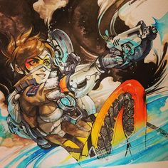 #illustration #art #overwatch #tracer #watercolor #ink by cosmicspectrum