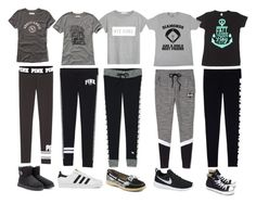 """""""Black and Grey School Outfits"""" by onedirectionforever03123 ❤ liked on Polyvore featuring Victoria's Secret, Abercrombie & Fitch, MANGO, Sperry, adidas, UGG Australia, NIKE and Converse"""