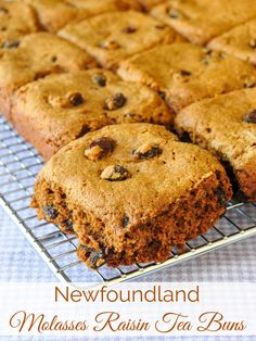 Newfoundland Molasses Raisin Tea Buns - my decades old recipe for soft, delicious, sweet molasses raisin tea buns that can be made using cinnamon as well. Almond Recipes, Baking Recipes, Cookie Recipes, Dessert Recipes, Bisquick Recipes, Bread Recipes, Chicken Recipes, Honey Cookies, Molasses Cookies