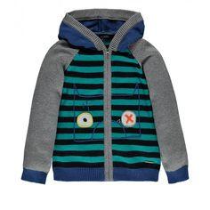 Striped and Color Block Knit Cardigan / Cardigan en maille à blocs de couleur et rayures, Souris Mini
