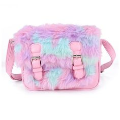 Pastel Explosion Vegan Fur Messenger Bag