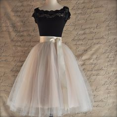 Pale champagne tulle skirt. Fluffy tulle by TutusChicBoutique, $200.00