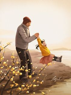 Early Spring - Art Print - Father and Daughter - Family Time - Wall Deco - Father's Day Gift - Peijin Father And Girl, Father Daughter Photos, Illustration Mignonne, Art Et Illustration, Illustration Pictures, Art Anime Fille, Anime Art Girl, Dad Drawing, Art Mignon