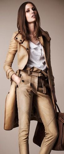 I like my leather worn, burnt beige, antique cream and smelling like a 10 grand Burberry Prorsum Resort 2013 leather trench coat.