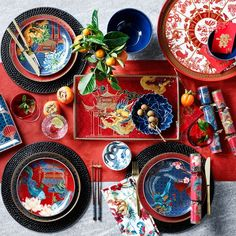 Lunar New Year Mixed Salad Plates, Part of Chinese Colors & Themes Porcelain Dinnerware. Chinese Table, Japanese Table, Chinese Dinner, Chinese New Year Party, Chinese New Year Decorations, New Years Decorations, New Year Table, New Years Dinner, Lunar New