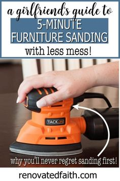 Whether sanding wood furniture by hand or with a sander, here are easy tips to make your next furniture project go smoothly, especially tip #3! This simple tutorial shows you how to sand indoors, sand spindles, which grit & how to prep furniture before primer. Whether you paint a dresser or stain a table, these DIY tricks show you the easy way to sand your next piece. White Washed Furniture, Distressed Furniture, Farmhouse Furniture, Repurposed Furniture, Rustic Furniture, Sanding Furniture, Sanding Wood, Paint Furniture, Furniture Makeover