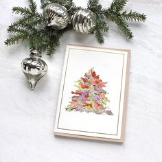 My 'Watercolor Tree' cards feature an abstract rendition I did of a holiday tree. This lovely set of 8 watercolour notecards is from my Florescence card line. They were printed in 1993 and are vintage