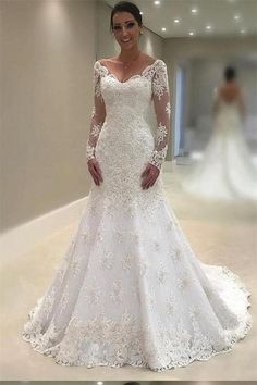 Elegant Lace Vneck Neckline Mermaid Wedding Dresses With Appliques is part of Long sleeve wedding dress lace Romantic lace motifs drift over the bodice and hemline of this unique wedding dres - Lace Wedding Dress With Sleeves, Wedding Dress Train, Long Sleeve Wedding, Elegant Wedding Dress, Perfect Wedding Dress, Dream Wedding Dresses, Bridal Dresses, Romantic Lace, Bridesmaid Dresses