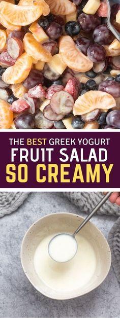 Fruit Salad With Yogurt, Creamy Fruit Salads, Grape Salad, Easy Salads, Jello Salads, Honey Lime Dressing, Dressing For Fruit Salad, Best Salad Recipes, Vegan Recipes Easy