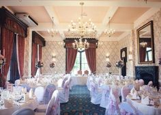 Wedding Flowers and Venue decoration by Lavender Blue Events at Rowton Castle Hotel.