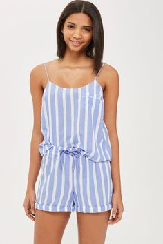 Stripe Camisole Top And Shorts Set - Lingerie & Sleepwear - Clothing Cute Comfy Outfits, Cool Outfits, Summer Outfits, Girls Fashion Clothes, Fashion Outfits, Girls Night Dress, Robe Diy, Pijamas Women, Nightwear