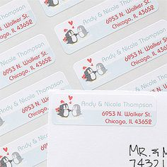 "These Personalized Penguin Couple Return Address Labels are so stinkin' cute! This ""Warm & Cozy"" design is from Personalization Mall and you can make a Christmas Ornament or holiday cards with the same design! These are adorable and are perfect for engaged couples or newlyweds to use on their first Christmas Cards together! #Christmas #Penguin #Wedding"