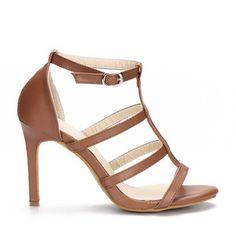 Yoins Brown Leather Look High Heel Gladiator Sandals