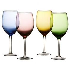 """Set of 4 multicolor stemware glasses.  Product: 4 Piece goblet setConstruction Material: GlassColor: MultiDimensions: 8.5"""" H x 3.75"""" Diameter eachCleaning and Care: Hand wash"""