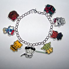 Hello Kitty Star Wars Bracelet Yoda,  CP30 R2D2  Princes Leia Boba Fett, Storm Trooper Maul  Jewlery. $19.99, via Etsy.