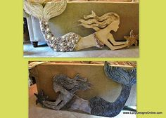 Giant mermaid wall art #shells #wood #starfish