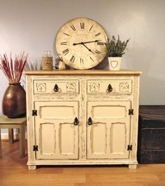 Fantastic Old Charm Sideboard Hand Painted in Farrow & Ball Old White and Distressed with Stripped Natural Oak Top.