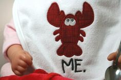 Whimsical Baby Maine Lobster  Terry Cloth Bib  by FloDoDesigns