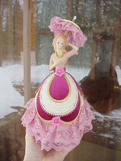 Real Rhea Egg Collectible Victorian Vintage Girl Decorated Easter Birthday Gift | eBay