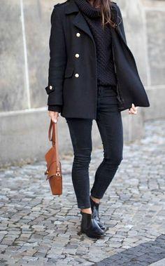 Black Pea Coat + Booties