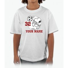 Snoopy Soccer - Personalized Kids and Youth T-Shirt