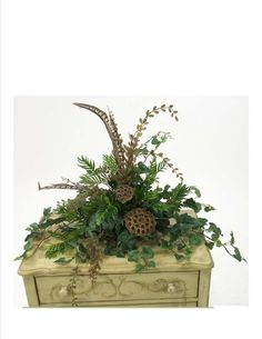 Silk Greenery on Tiles: Boxwood, Lotus and Palm Leaves w/Feathers