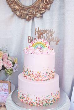 Rainbow cake from a Magical Unicorn Birthday Party on Kara's Party Ideas   KarasPartyIdeas.com (16)