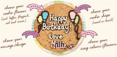Giant Iced Cookie - 'Millie's Cookies' - ideas for izzy b-day Birthday Cookies, 21st Birthday, Birthday Board, Birthday Wishlist, Iced Cookies, No Bake Cookies, Giant Cookies, Cookie Flavors, Cookie Recipes