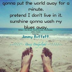 gonna put the world away for a minute. pretend I don't live in it. sunshine gonna wash my blues away.